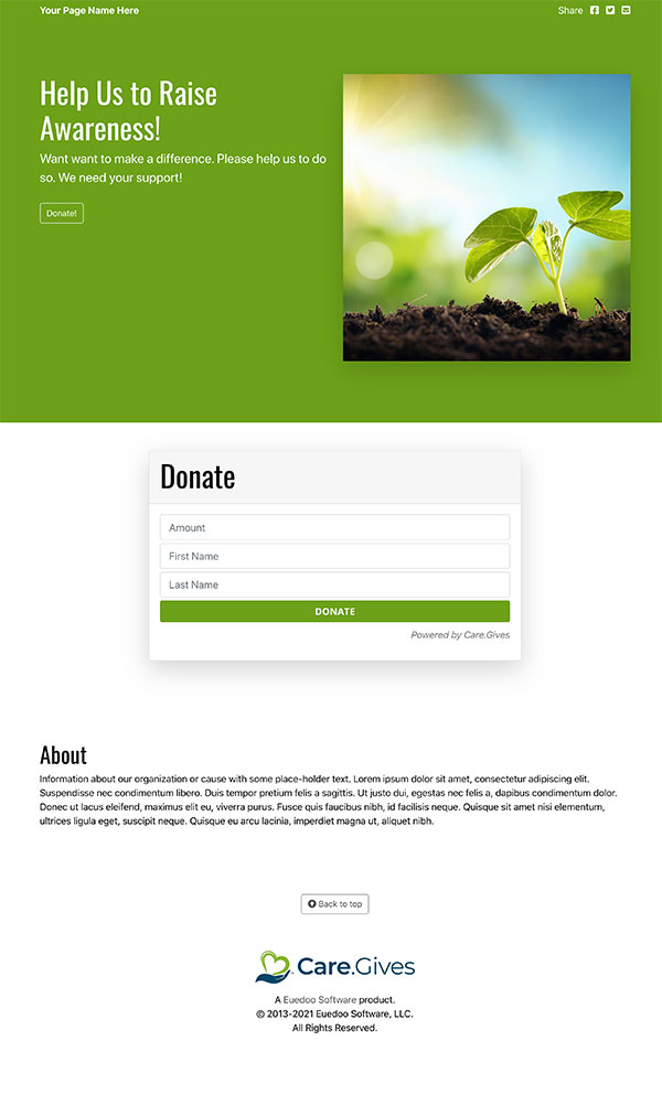Care.Gives Donation Page Design